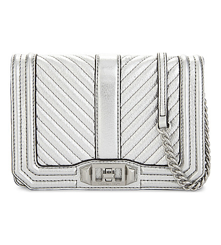 REBECCA MINKOFF Chevron Quilted Love cross-body bag (Silver