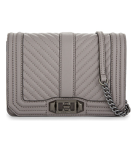 REBECCA MINKOFF Chevron leather cross-body bag (Grey