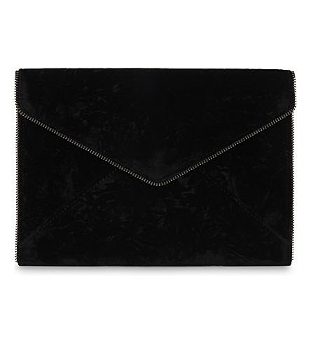 REBECCA MINKOFF Leo velvet clutch (Black