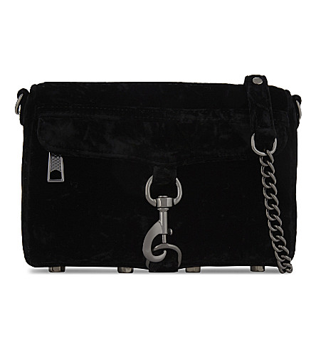 REBECCA MINKOFF Mini m.a.c. velvet cross-body bag (Black