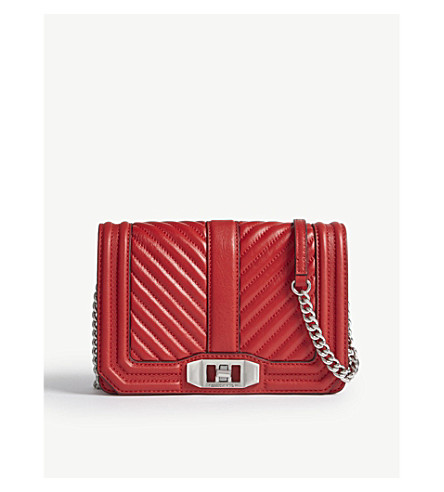 REBECCA MINKOFF Chevron leather cross-body bag (Carnation+red