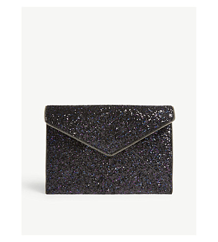REBECCA MINKOFF Leo glitter clutch bag (Purple+multi