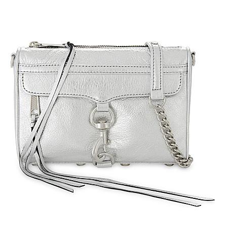 REBECCA MINKOFF Mini M.A.C metallic leather cross-body bag (Silver