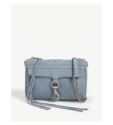 REBECCA MINKOFF Mini Mac nubuck cross-body bag (Dusty+blue