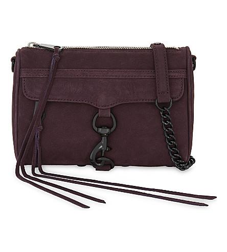 REBECCA MINKOFF Mini M.A.C suede cross-body bag (Dark+cherry
