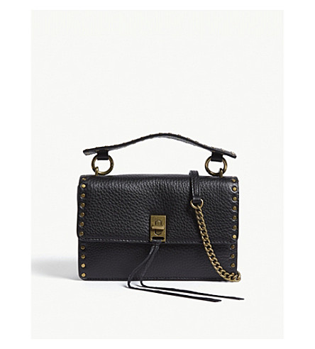 REBECCA MINKOFF Darren pebbled leather cross-body bag (Black