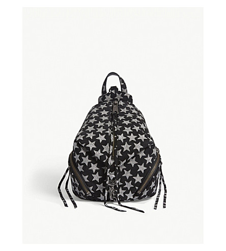 REBECCA MINKOFF Mini Julian star motif suede backpack (Black