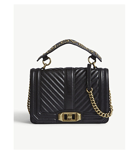 REBECCA MINKOFF Love leather cross-body bag (Black
