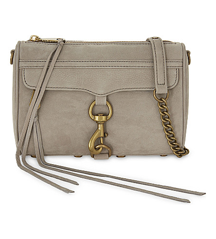 REBECCA MINKOFF Mini M.A.C suede cross-body bag (Mushroom