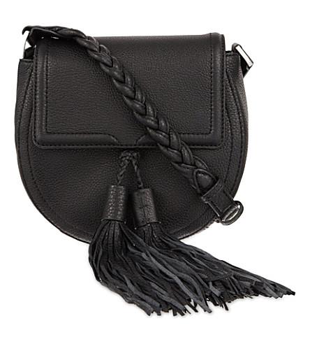 REBECCA MINKOFF Isobel tasseled leather saddle bag (Black