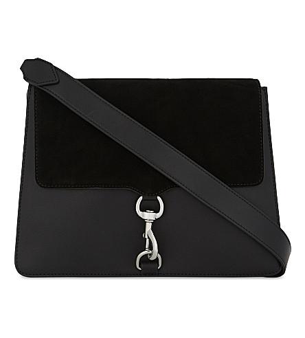 REBECCA MINKOFF Leather and suede shoulder bag (Black