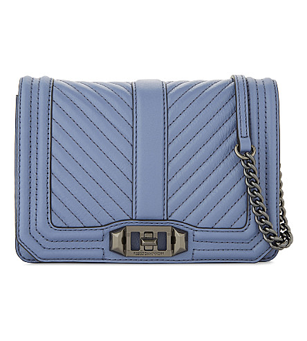 REBECCA MINKOFF Small chevron quilted Love leather cross-body bag (Azure