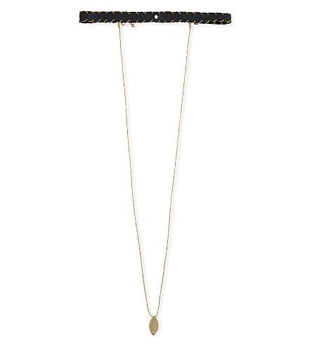 REBECCA MINKOFF Layered leather choker (Gold/black