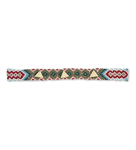 REBECCA MINKOFF Triangular stud friendship choker (Gold/green