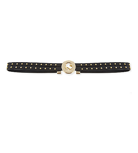 REBECCA MINKOFF Studded leather choker (Gold/black