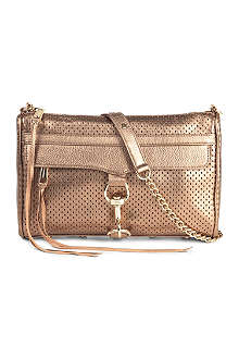 REBECCA MINKOFF Morning After metallic perforated-leather clutch