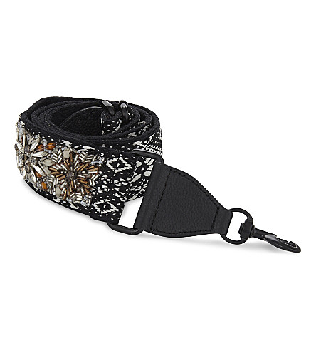 REBECCA MINKOFF Jewelled jacquard guitar bag strap (Black