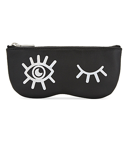 REBECCA MINKOFF Winking Eye leather sunglasses pouch (Black