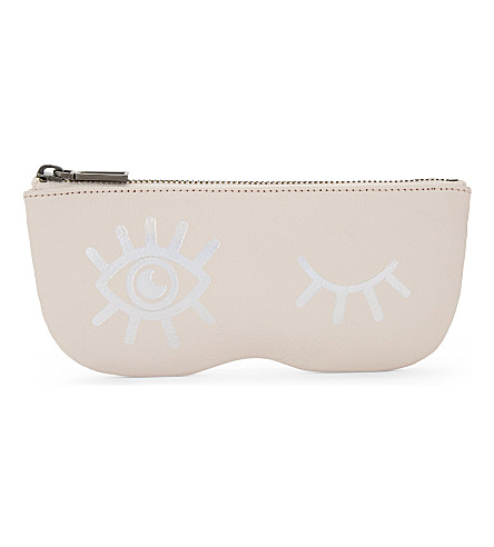 REBECCA MINKOFF Winking eye leather sunglasses pouch (Soft+blush