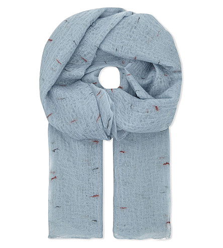 JANE CARR Line print cashmere scarf (Eggshell