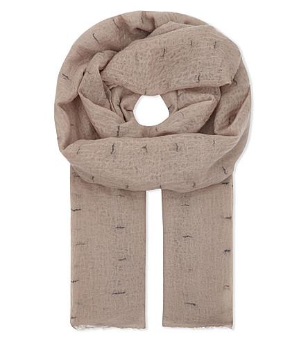 JANE CARR Line print cashmere scarf (Granite