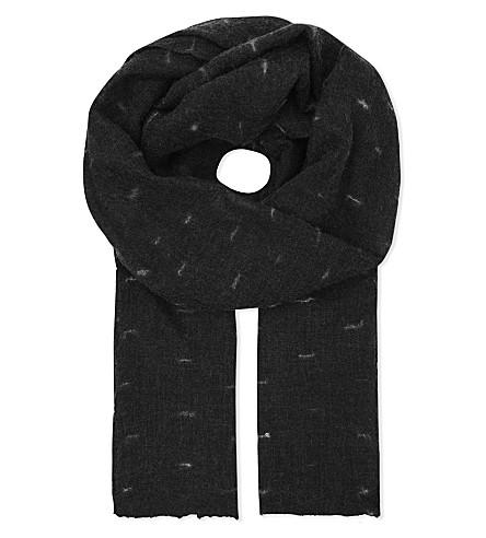 JANE CARR Line print cashmere scarf (Noir