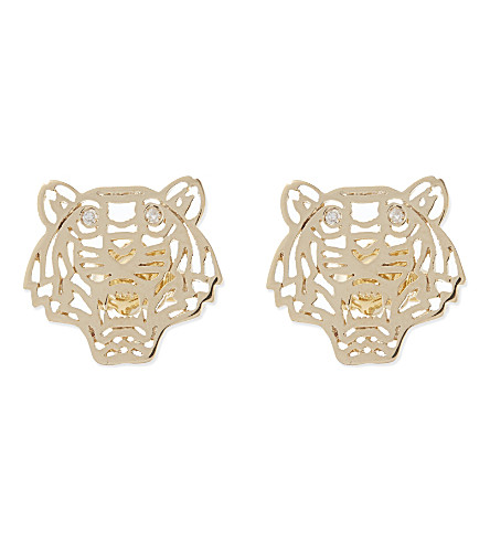 KENZO Tiger head earrings (Gold