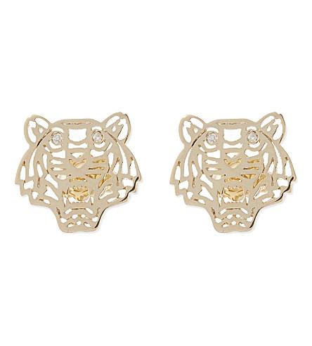 KENZO Tiger head earrings (Gold