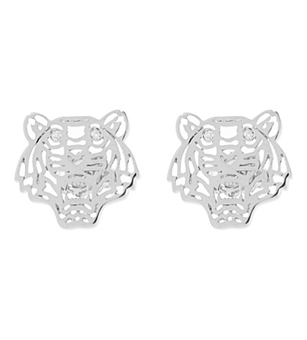 KENZO Tiger head earrings (Silver