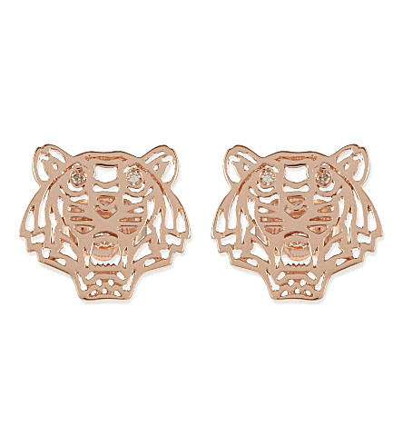 KENZO Mini tiger stud earrings (Rose+gold