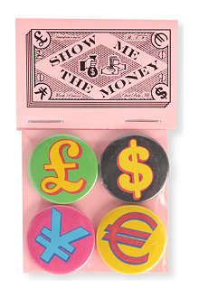 MARK PAWSON Money Symbols set of four small badges