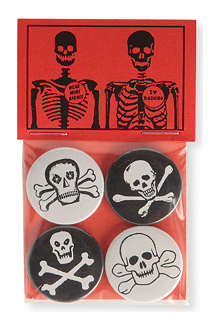 MARK PAWSON Skulls set of four pin badges