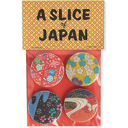 MARK PAWSON Slice of Japan set of four large badges (Multi