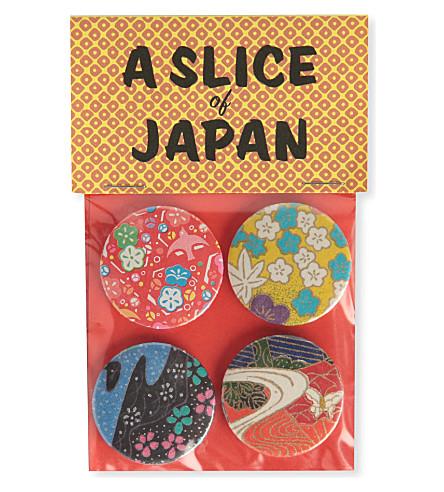 MARK PAWSON Slice of Japan set of four large badges (Multi