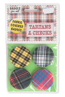 MARK PAWSON Tartan set of four large fabric pin badges