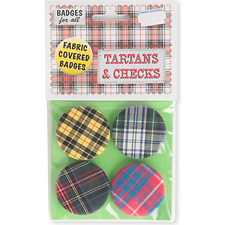 MARK PAWSON Tartan set of four large fabric pin badges (Multi