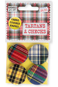 MARK PAWSON Tartan set of four fabric pin badges
