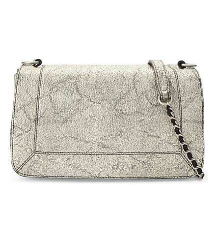 JEROME DREYFUSS Bobi metallic leather shoulder bag (Lamine+silver