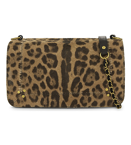 JEROME DREYFUSS Leopard print pony-hair and leather shoulder bag (Leopard