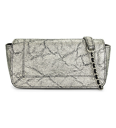 JEROME DREYFUSS Bob metallic leather shoulder bag (Lamine+silver