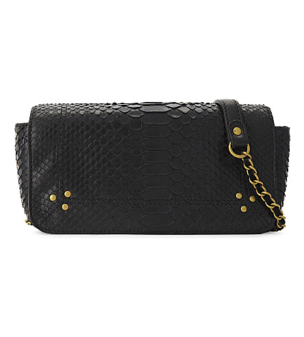JEROME DREYFUSS Bob python-skin cross-body bag (Black