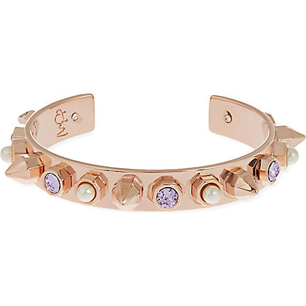 MARIA FRANCESCA PEPE 23ct rose gold-plated stud and pearl cuff bracelet (Rose gold/crys