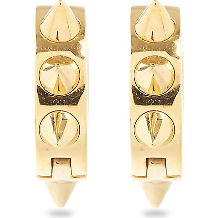 MARIA FRANCESCA PEPE Spike 23ct gold-plated hoop earrings (Gold