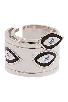 MARIA FRANCESCA PEPE Emamelled eye rhodium-plated ring set