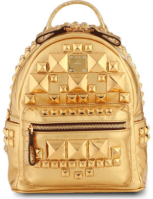 MCM Studded small metallic-leather backpack