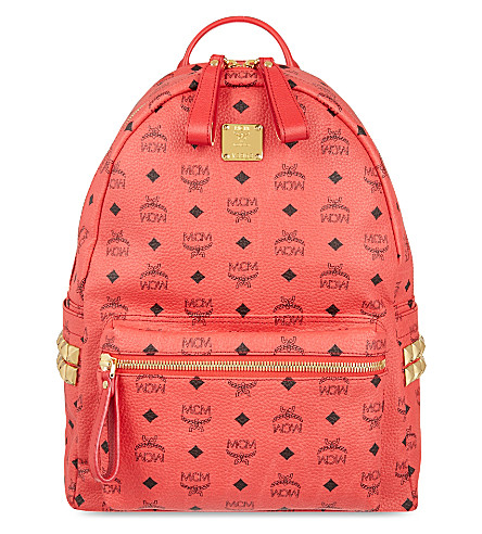 MCM Stark studded leather backpack (Red