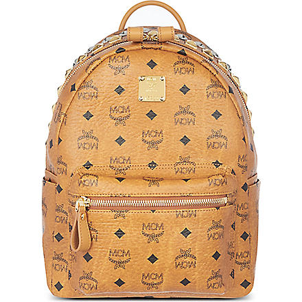MCM Stark studded zip small backpack (Cognac