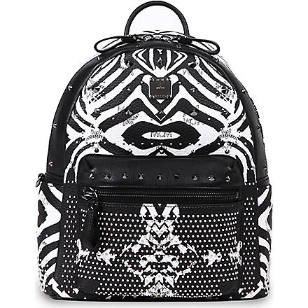 MCM Funky Zebra small leather backpack (White+++black
