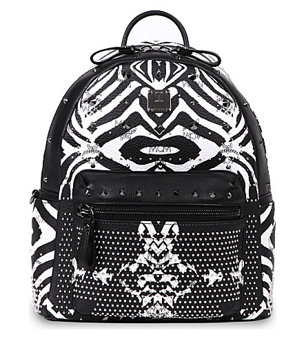 MCM Funky Zebra small leather backpack (White   black