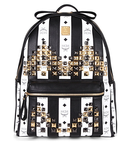 MCM Road to Paradise studded leather backpack (White   black